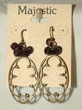 Jjb 797, Lovely Antiqued Brass Tone Dangle Earrings From Majestic, For Pierced
