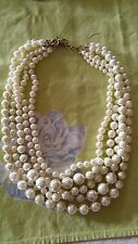 PreOwned J.Crew necklace glass faux pearls knotted multi strand w orig dust bag