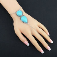 Women Turquoise Hand Harness Boho Bracelet Bangle Chain Link Finger Ring HO3