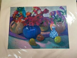 """Large Edith Prudente """"Fruits & Flowers Still Life Scene"""" Pastel Painting -Signed"""