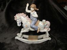 1991 Paul Sebastian Porcelain Figurine  Girl on Rocking Horse,Excellent