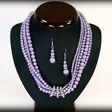 PARURE collier, boucles d'oreille perles de culture violet bijoux fantaisie neuf