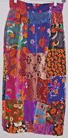 "Vintage 70's BoHo Hippie  Skirt Velvet Floral Patch Long Style   28"" Waist"