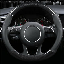 38CM Deluxe Black Carbon Fiber & Leather Car Steering Wheel Cover Trim Universal