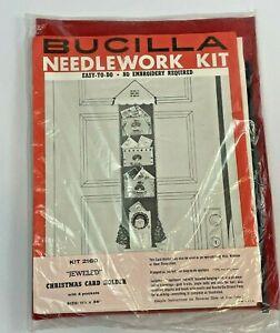 Vintage Bucilla Christmas Felt Card Holder Kit Jeweled Pockets Applique Hanging