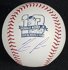 Ronald Acuna Autographed Roy Logo Baseball w/ Jsa Witness Coa!