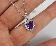 Bastante sólido de plata 925, Amatista Púrpura, CZ corazón Colgante Collar + Caja