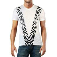 INC Mens T-Shirt Black White Size 3XL Graphic Tee Zebra Printed V-Neck $29- #333