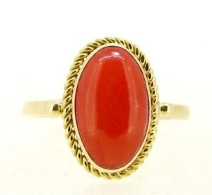 Yellow Gold Ring Solid 18K With Coral Vintage Years' 60 Made in Italy