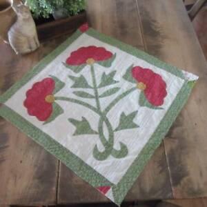 Wonderful Antique c1850 Red & Green Applique Flower Quilt Cutter PC