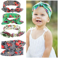 DIY Baby Kids Girls Rabbit Ears Bow Turban Knot Headband DIY Hair Band Headwear