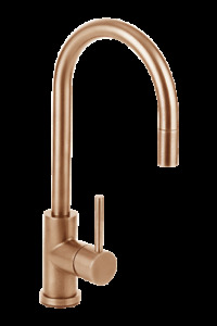 Brushed rose gold copper full solid stainless steel kitchen mixer pull out spray