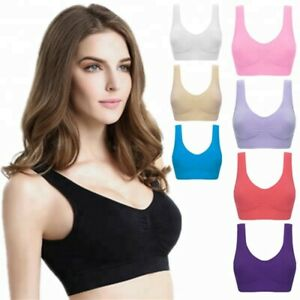3 Pack Women Seamless Plus Size Sport Bra Wireless Gym Yoga Top Comfort Vest