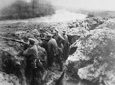 German soldiers in a trench beside the Aisne River France World War I 8x10 Photo