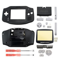 Replacement Solid Black Housing Shell + Screen Len for Nintendo Gameboy Advance