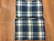 NAUTICA SHAMS SET OF 2 STANDARD NAVY PLAID GREEN BURGUNDY 100% COTTON NICE!
