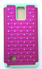 For Samsung Galaxy Note 4 Hybrid Studded Diamond Case Cover Hot Pink Bling/Green