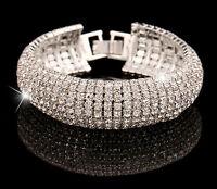 New Fashion Charm Women Crystal Rhinestone Cuff Bracelet Bangle Jewelry