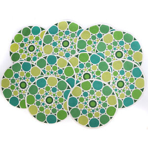 """Crate & Barrel Set Of 10 Ringo Green Tone 15"""" Round Cotton Placemats"""