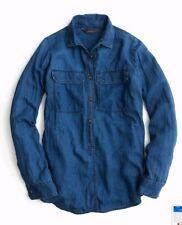 037e27232e0c $78 J.CREW 0 Indigo Gauze Popover Shirt Style B8210 100% Cotton Long-