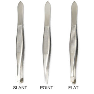 Luxxii (3 Pack) Tweezers Set - Stainless Steel Slant Tip, Flat, Point Tweezers