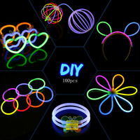 100 PCS Glow Sticks Bracelets Necklaces Fluorescent Neon Party Wedding Magic New