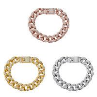 Women Men Gold Silver Crystal Chain Link Bracelet Wristband Cuff Bangle Jewelry