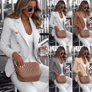 Womens Double Breasted Blazer Suit Ladies Jacket Lapel Outerwear Coat Plus Size