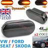 Dynamic LED Side Indicator BLACK Smoke Turn Signal VW SEAT SKODA FORD LUXFACTORY