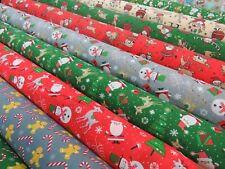 Christmas Fabric Santa Snowman Festive Decoration Craft Polycotton Material