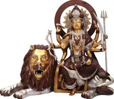 "Master Fine Statue Mother Durga Bless Mount Lion 16.5""Brass Jai God Hindu 18.5KG"