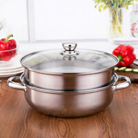 2 Tier Stainless Steel Steamer induction compatible Cookware Saucepan Pot HOT
