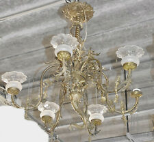 *Prunkvoller 6-armige Jugendstil-Deckenlampe,Messingmontur mit Füllhorn,um 1900*