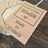 Wedding Invitations, Kraft, Rose Pink Heart, Country Chic Rustic Vintage Style