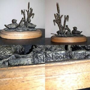 VTG SIGNED 1981  7 x 6  Ducks Lily Pads Pond  Sculpture Metal Verdigris Cattails
