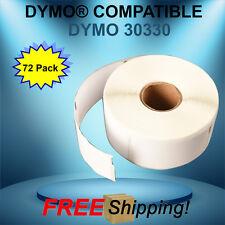 72 Rolls Dymo® Endicia® Compatible 30330 White Rectangular Labels Multipurpose