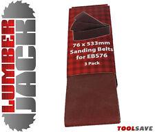 """3 X 3"""" Surtidos Cinturones de Lijado Lumberjack para EBS76 Lijadora de banda 40 80 y 120 Grit"""