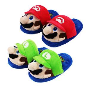 New Super Mario Cartoon Soft Plush Slippers Luigi &Mario Adult Home Unisex Shoes