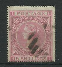 1867/83 Sg 126/7, 5/- Rose (HI) Plate 2, Good to fine used.