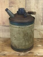 Vintage Kerosene Can With Wooden Bail Handle Metal One Gallon