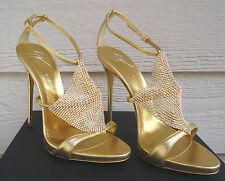 NEW $1395 Giuseppe Zanotti 40 Coline Metallic Gold Crystal Mekong Rhinestone