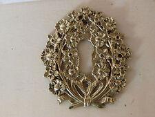 RARE 1 ancienne entrée clé serrure bronze couronne fleurs empire meuble porte K