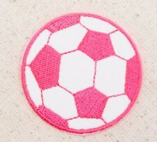 """Large 2"""" - Soccer Ball - Neon Pink/White - Iron on Applique/Embroidered Patch"""