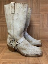 RARE🔥 FRYE Eggshell Crackled Leather Motorcycle Riding Harness Boots Sz 8.5 USA