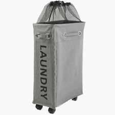 Rolling Clothes Laundry Hamper with Mesh Top and Drawstring