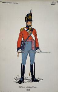"Vintage Print British Military Uniform ""Officer: 1st Royal Scots 1815"" Army U.K"