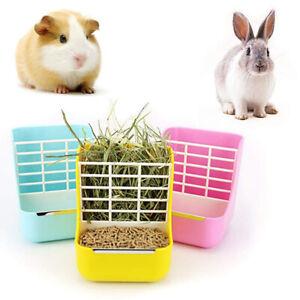 Pet Rabbit Hay Rack Food Feeder Grass Shelf Bowl Dispenser Storage Container USA