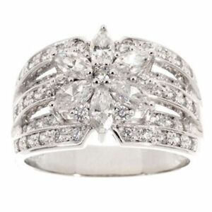 QVC Epiphany Diamonique Sterling Silver 1.35Ct Mixed Cut Flower Ring Size Size 6