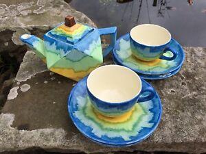 Cauldon Corona ware Cup And Saucer, Art Deco Hancock And Sons Tea For Two