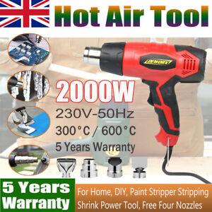 Heat Gun Power Hot Air Gun 2000W Nozzles Stripping Paint Soldering Pipes Shrin
